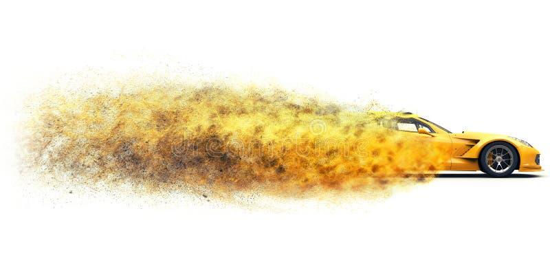 Automobile sportiva gialla di concetto che va così velocemente che si disintegra in polvere fotografia stock