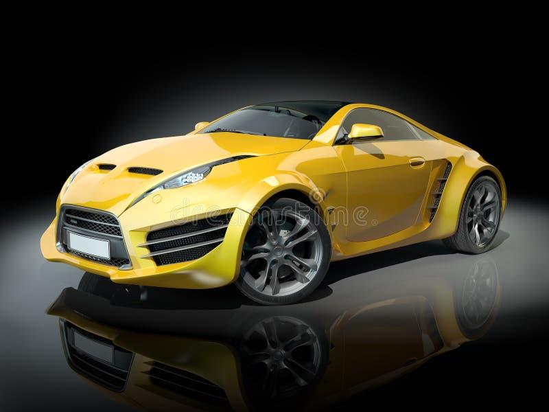 Automobile sportiva gialla su una priorità bassa nera royalty illustrazione gratis