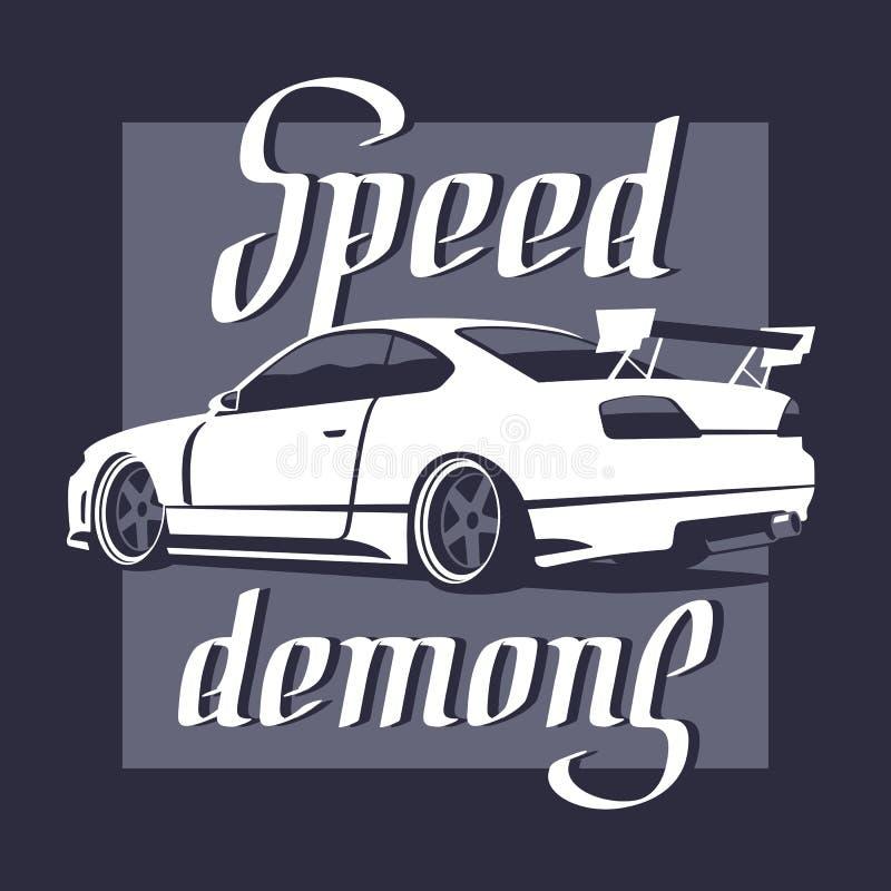 Automobile sportiva giapponese Iscrizione dei demoni di velocità Illustrazione di vettore royalty illustrazione gratis