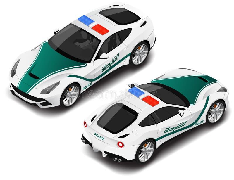 Automobile sportiva isometrica della polizia di alta qualità di vettore Icona della polizia Traduzione di testo immagini stock