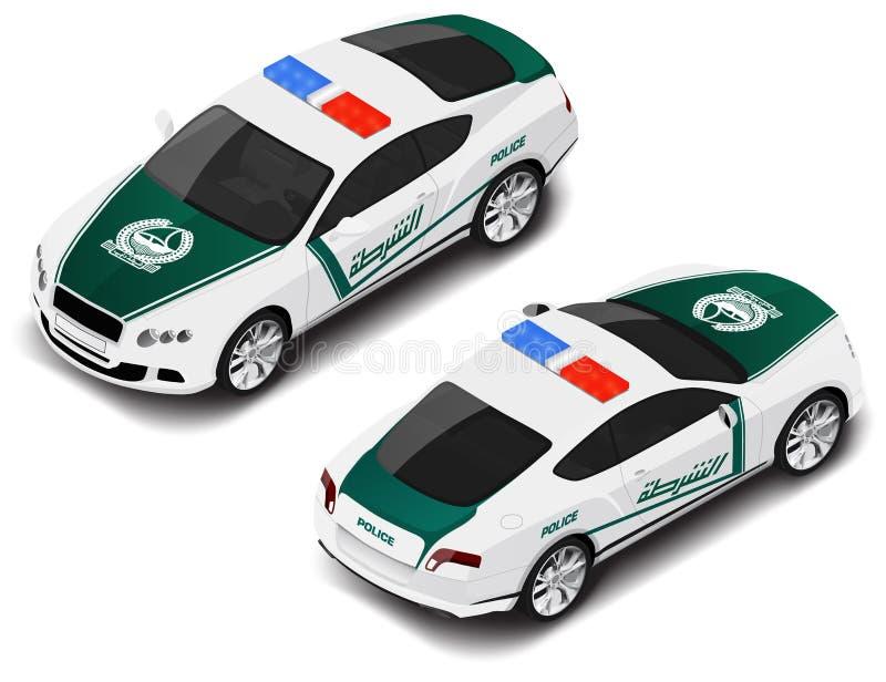 Automobile sportiva isometrica della polizia di alta qualità di vettore Icona della polizia Traduzione di testo immagini stock libere da diritti