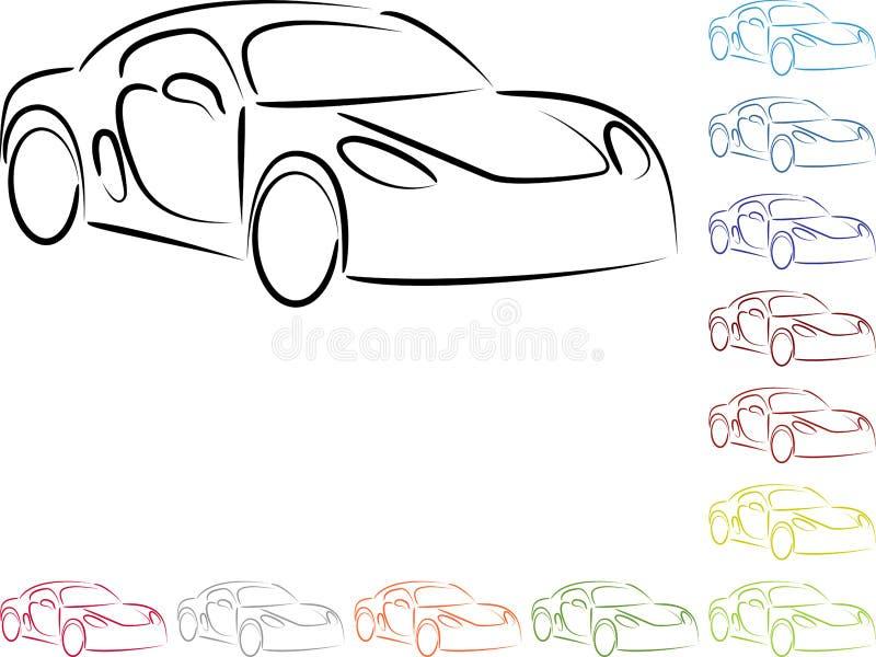Automobile, automobile sportiva nel logo differente di colori, dell'automobile e dell'automobile sportiva illustrazione vettoriale