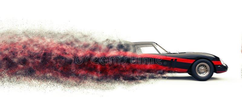Automobile sportiva nera d'annata con le bande rosse - effetto della traccia della particella illustrazione di stock