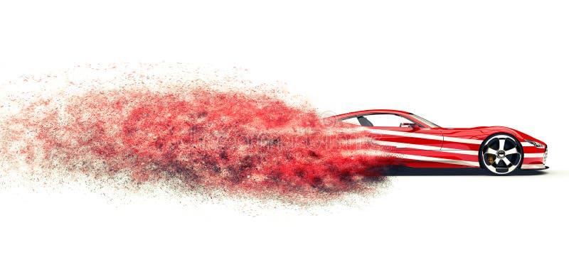 Automobile sportiva rossa con le bande bianche - traccia FX della particella royalty illustrazione gratis