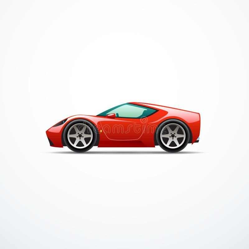 Automobile sportiva rossa del fumetto di vettore Vista laterale illustrazione vettoriale