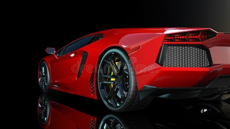 Automobile sportiva rossa, estremità posteriore e fanali posteriori di un'automobile di sport, macchina da corsa isolata su fondo illustrazione di stock