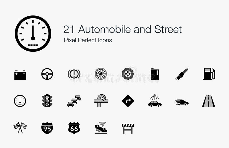 21 Automobile and Street Pixel Perfect Icons stock illustration