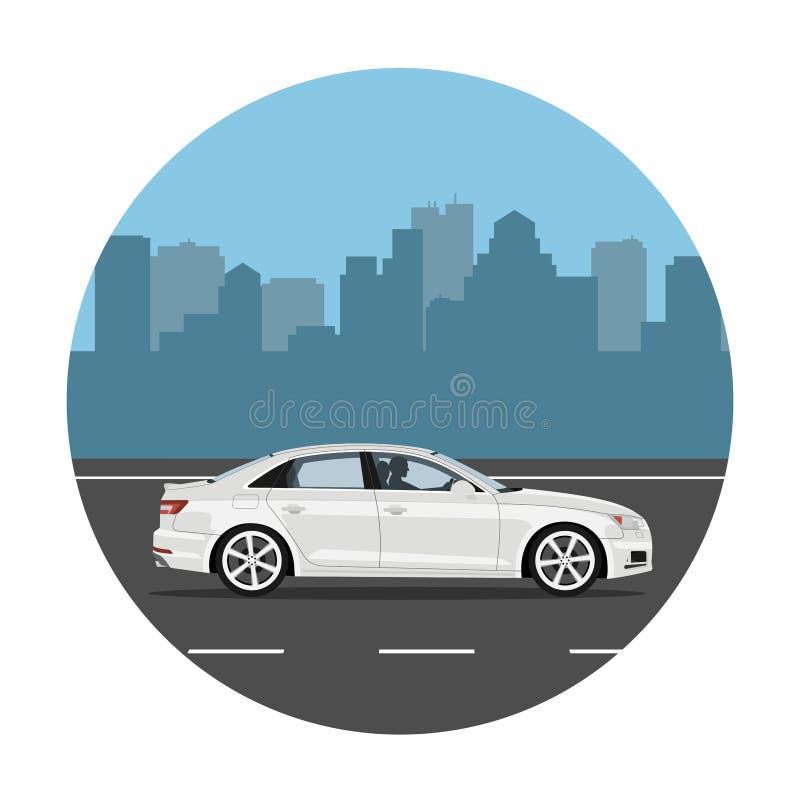 Automobile sui precedenti della città illustrazione vettoriale
