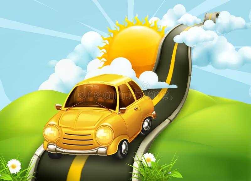 Automobile sulla strada alle nuvole royalty illustrazione gratis