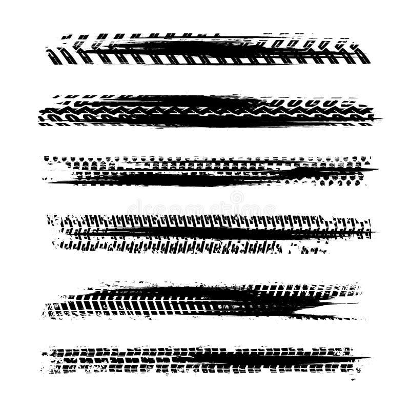 Automobile tire tracks. Vector illustration. Grunge automotive element useful for poster, print, flyer, book, booklet, brochure and leaflet design. Graphic royalty free illustration