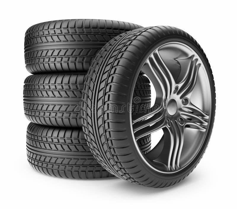 Automobile Tire. Wheel 3D, Icon Stock Image