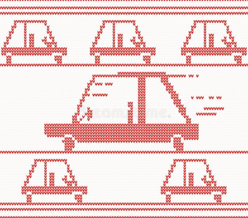 Automobile tricottata rosso Illustrazione di vettore illustrazione vettoriale
