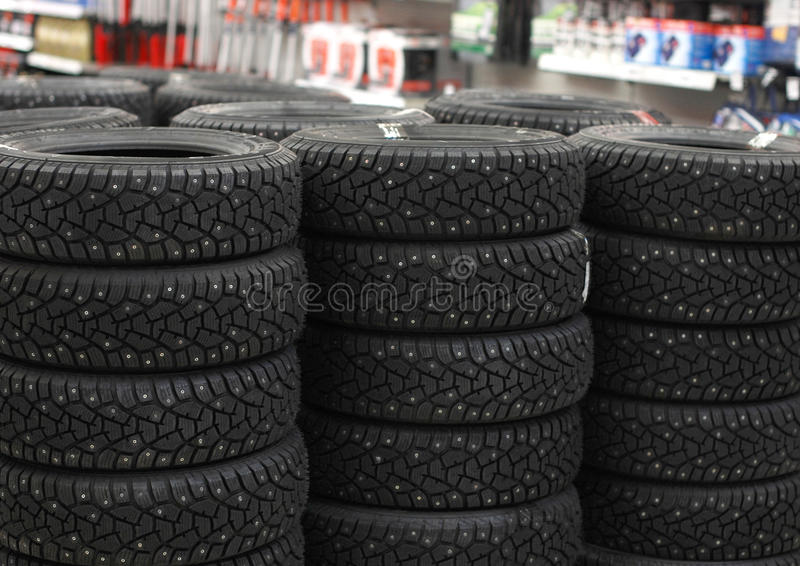 Automobile Tyres In A Supermarket Royalty Free Stock Images