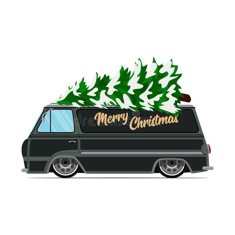 Automobile verde d'annata con l'albero di Natale Immagine di Natale Camion verde illustrazione vettoriale