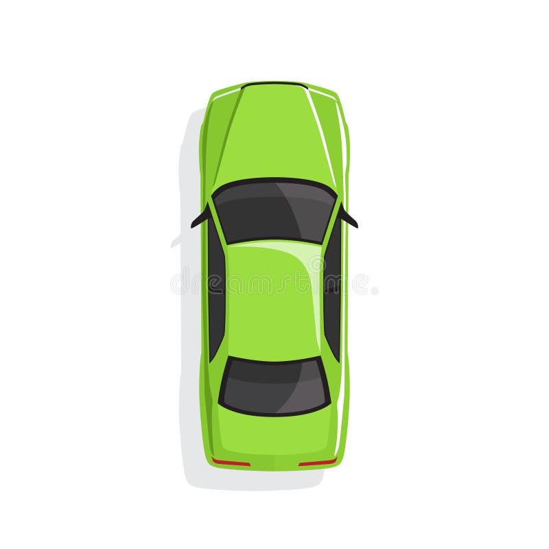 Automobile verde del fumetto Vista superiore Illustrazione di vettore illustrazione di stock
