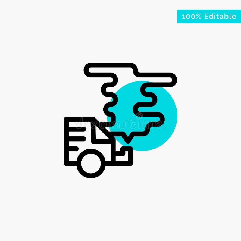 Automobile, voiture, émission, gaz, icône de vecteur de point de cercle de point culminant de turquoise de pollution illustration de vecteur
