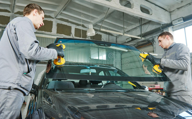 Automobile windshield or windscreen replacement stock image