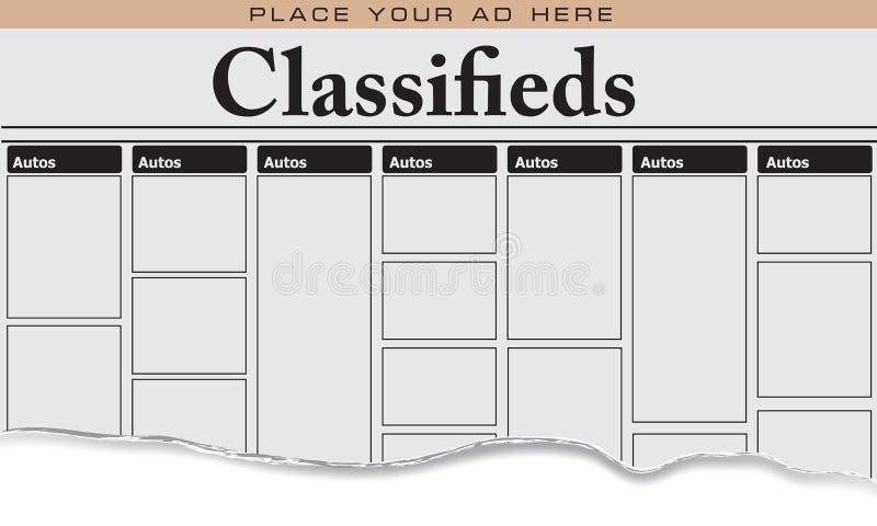 Automobiles de classifieds de journal illustration de vecteur