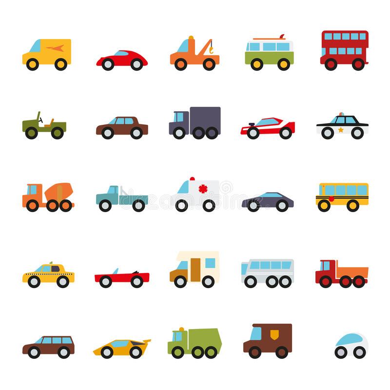 Automobiles Flat Design Isolated Vector Icons Collection. Set of 25 cars, vans and other motor vehicles flat design icons on white background stock illustration