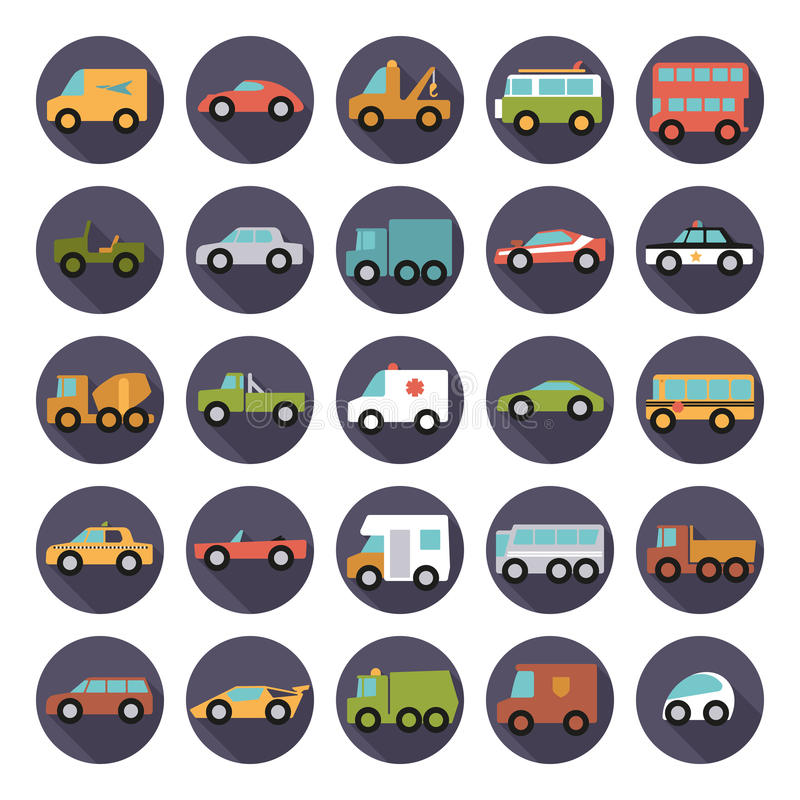 Automobiles Flat Design Round Vector Icons Collection. Set of 25 cars, vans and other motor vehicles icons in circles, flat design, long shadow royalty free illustration