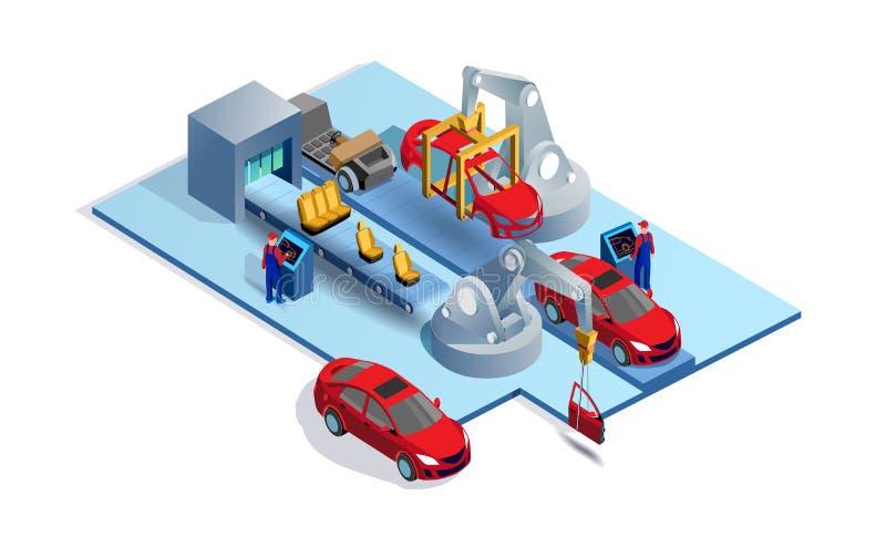 Automobilfließband lizenzfreie abbildung