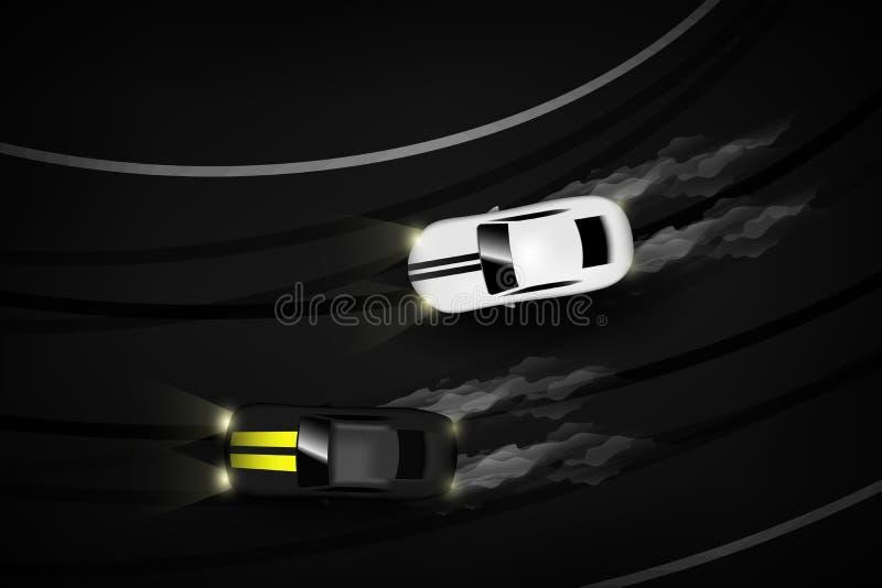 Automobili aeree di vista superiore due che vanno alla deriva battaglia la notte sulla pista di corsa, illustrazione Eps10 di vet royalty illustrazione gratis