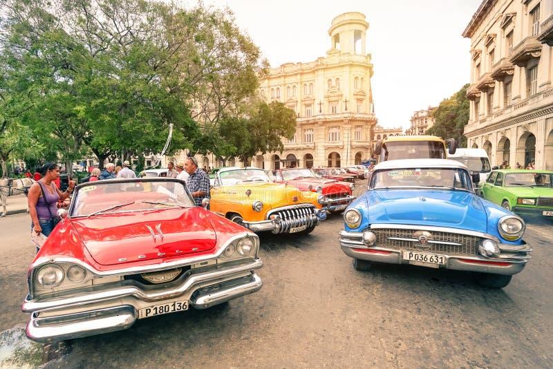 Automobili americane d'annata multicolori in Havana City fotografia stock libera da diritti