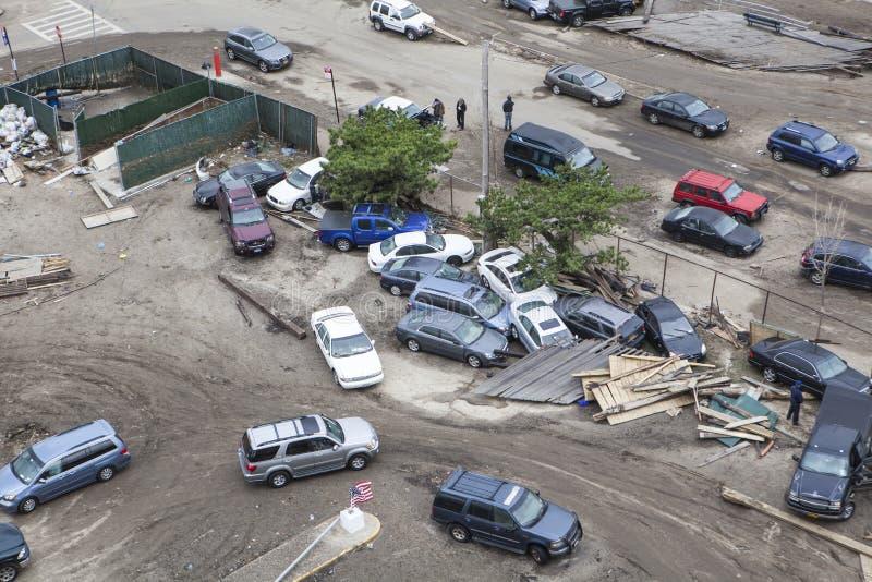 Automobili arrestate dopo l'uragano Sandy fotografia stock libera da diritti