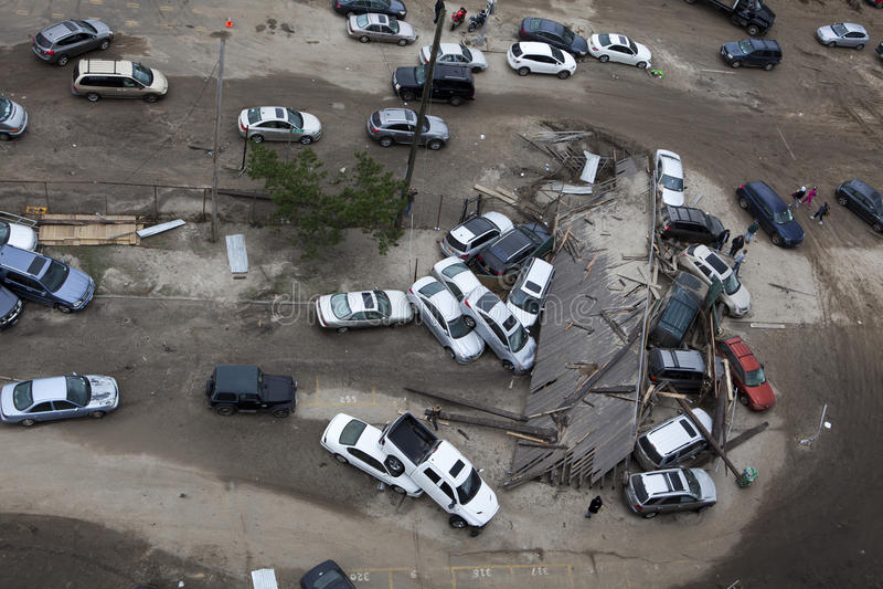 Automobili arrestate dopo l'uragano Sandy fotografie stock