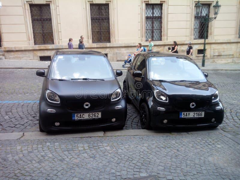 Automobili astute a Praga, ¡ Strana di Malà fotografia stock