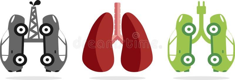 Automobili che simulano i polmoni sani e malati illustrazione di stock