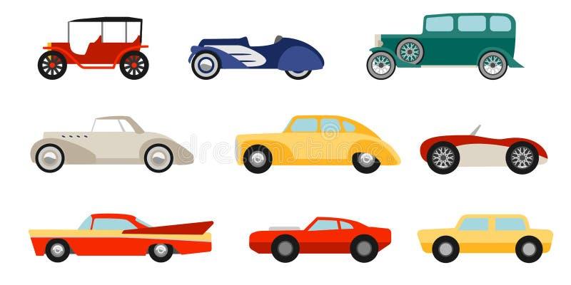 Automobili classiche di stile piano messe illustrazione vettoriale