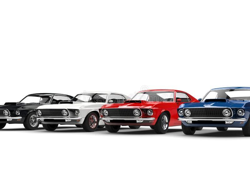 Automobili classiche variopinte del muscolo illustrazione vettoriale