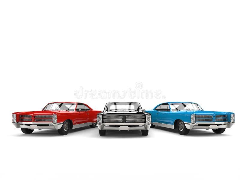 Automobili d'annata nere, rosse e blu - vista frontale royalty illustrazione gratis