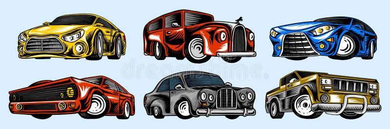 Automobili del muscolo e trasporti d'annata per il logo e le etichette Metta di servizio automatico della retro vecchia scuola Ra illustrazione vettoriale