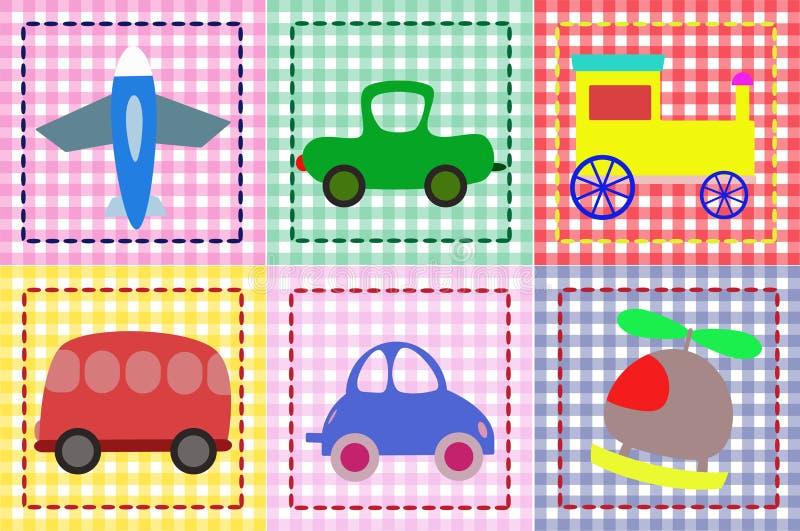 Automobili dell'aereo, dell'elicottero, del treno e del giocattolo per childre illustrazione vettoriale