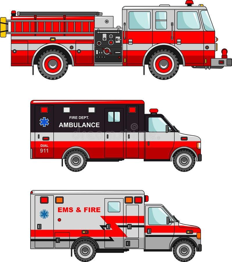 Automobili dell'ambulanza e del camion dei vigili del fuoco isolate su bianco illustrazione di stock