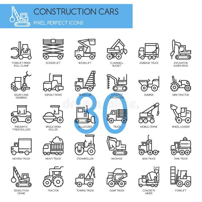 Automobili della costruzione, linea sottile icone messe illustrazione vettoriale