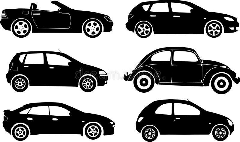 Automobili della siluetta, vettore illustrazione di stock