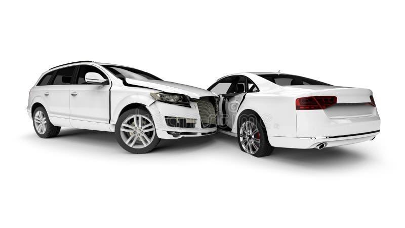 Automobili demolite bianche in un incidente royalty illustrazione gratis