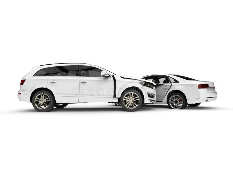 Automobili demolite bianche in un incidente illustrazione vettoriale