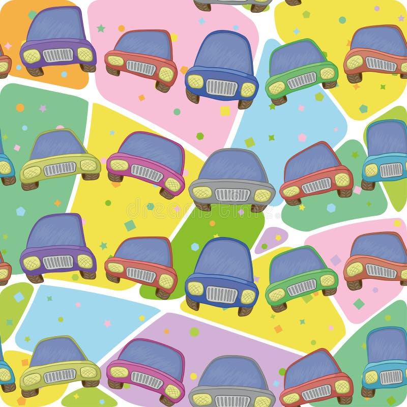 Automobili e modello astratto, senza cuciture illustrazione di stock