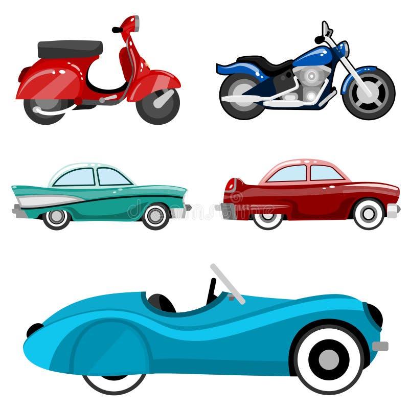 Automobili e motocicli classici royalty illustrazione gratis