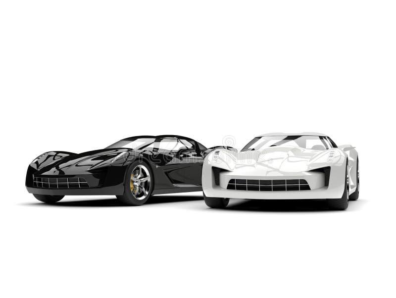 Automobili eccellenti in bianco e nero di concetto di sport illustrazione di stock