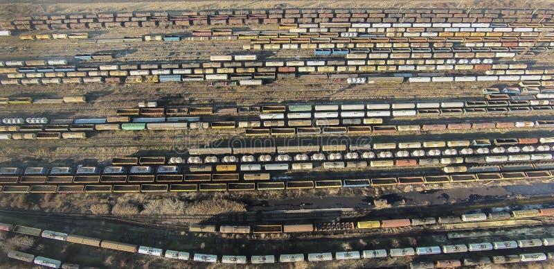 Automobili ferroviarie, vista aerea fotografia stock libera da diritti