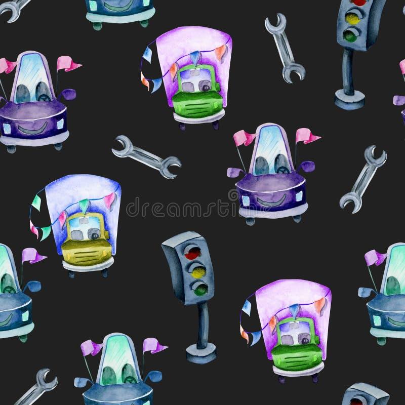 Automobili festive dell'acquerello, semafori e modello senza cuciture della chiave royalty illustrazione gratis
