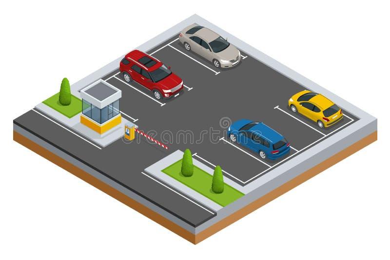 Automobili isometriche nel parcheggio del parcheggio o dell'automobile Stile piano isometrico di vettore dell'insegna di web di v royalty illustrazione gratis