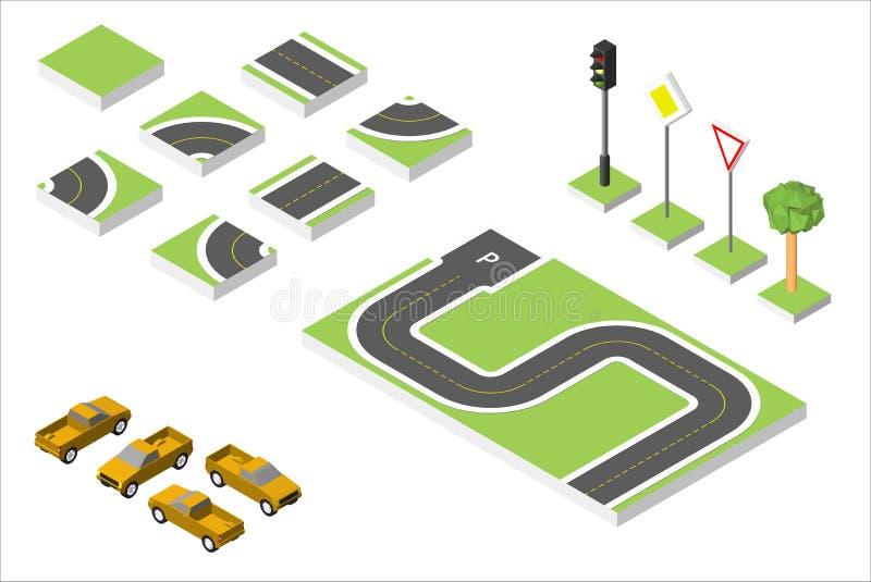 Automobili isometriche stabilite di vettore e della strada, traffico stradale comune regolatore Illustrazione ENV 10 di vettore i illustrazione di stock