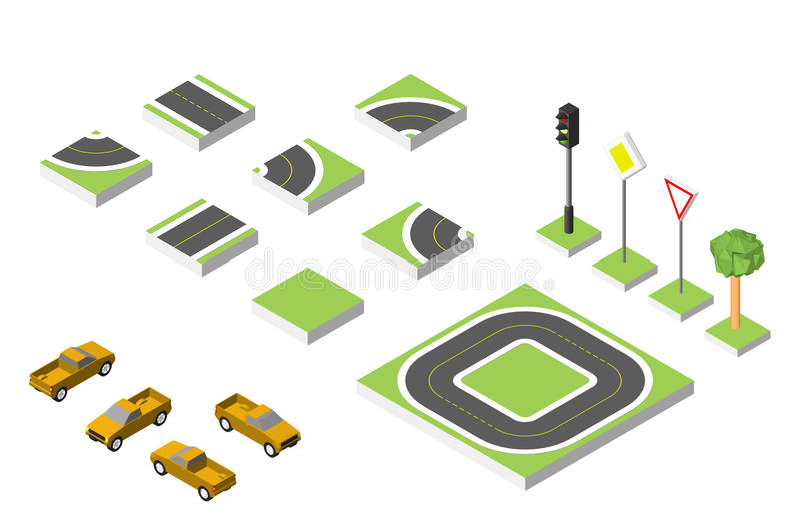 Automobili isometriche stabilite di vettore e della strada, traffico stradale comune regolatore Illustrazione ENV 10 di vettore s illustrazione di stock