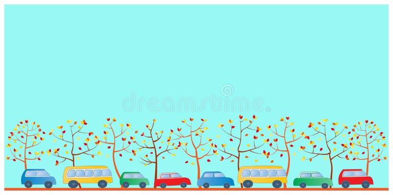 Automobili multicolori del fumetto illustrazione di stock